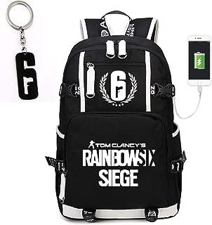 Teaspen Tom Clancy Rainbow Six Siege Luminous USB Charging Port Backpack Black Oxford Cloth Bag Includes Free R6 Keychain