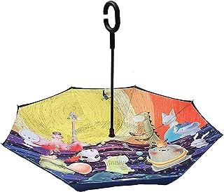 Adesign Parapluie inversé avec poignée en Forme de C pour Hommes et Femmes, Parapluie Coupe-Vent et résistant à l'eau - Gr...