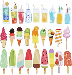 Blulu 60 Pieces Summer Bookmarks Cold Drink Theme Bookmarks Cute Colorful Dessert Bookmarks for Students Kids Adults (Colo...
