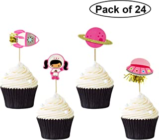 Pack of 24 Astronaut Exploration Cupcake Toppers Space Theme Cupcake Picks Baby Shower Birthday Party Decoration Supplies
