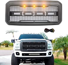 Modifying Front Grille for 2011-2016 F250 FORD F-250 F-350 F-450 F-550 Raptor Style Grill with 3 LED Amber Lights and Letters - Grey
