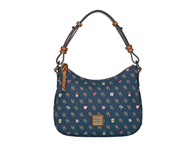 Dooney & Bourke Gretta Novelty Small Kiley Hobo (Navy/Natural Trim) Handbags