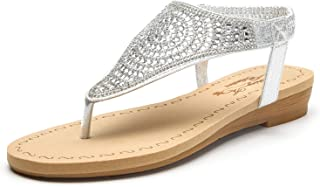 Sparkly Rhinestone Elastic Rear Thong Flat Dress Sandal for Women