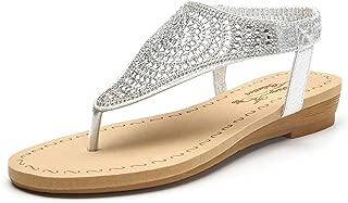 Ashley A Sparkly Rhinestone Elastic Rear Thong Flat Dress Sandal for Women