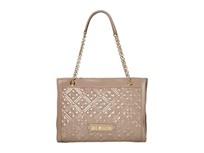 LOVE Moschino Quilted Tote Bag (Grey) Handbags