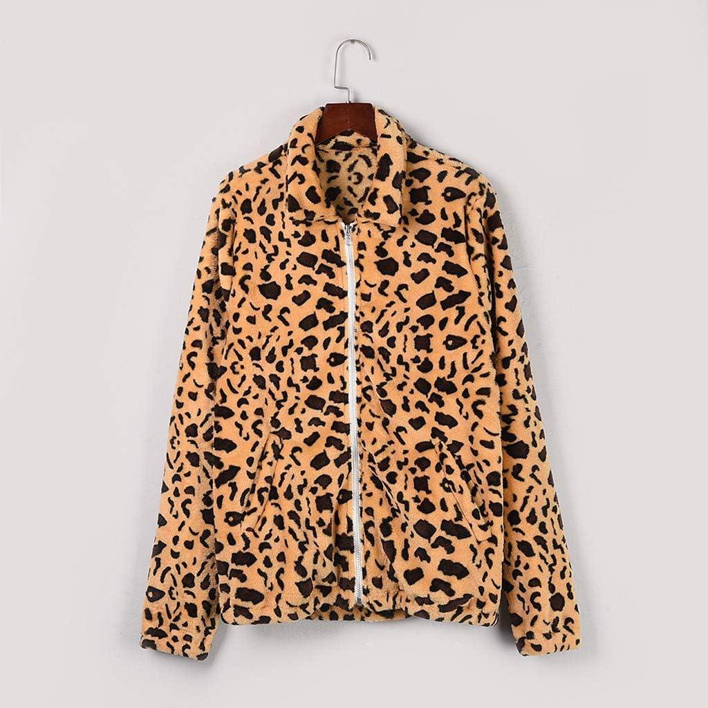 SamojoyFurry Women's Faux Fur Coat Leopard Print Teddy Jacket Fleece Sherpa Parka Winter Soft Warm Zip Up Outwear Coat