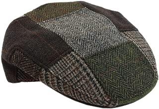 Men's Patchwork Cap 100% Wool Green & Brown Made in Ireland