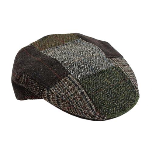 3029d8565bd Mucros Men s Patchwork Cap 100% Wool Green   Brown Made in Ireland