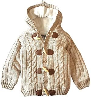 JGJSTAR Baby Boys Hooded Cable Knit Cardigan Sweater 100% Cotton Toddler Winter Warm Jacket Outwear