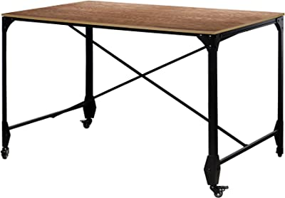 Benjara Industrial Style Home Office Desk with Rectangular Wooden Top and Metal Legs, Brown and Bronze