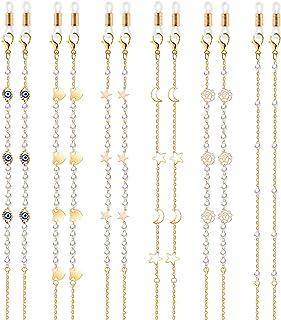 TOYMIS 6 Pièces Chaînes de Lunettes Sangles de Lunettes Perlé Porte-chaîne de Lunettes Lanières Chaînes de lunettes Access...