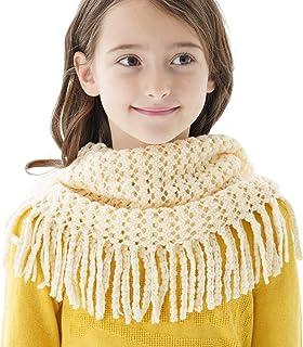Tusong زمستان کودکان و نوجوانان کودک نو پا گره گرم گربه گردن شال گردن حلقه گرد روسری شال (بژ)