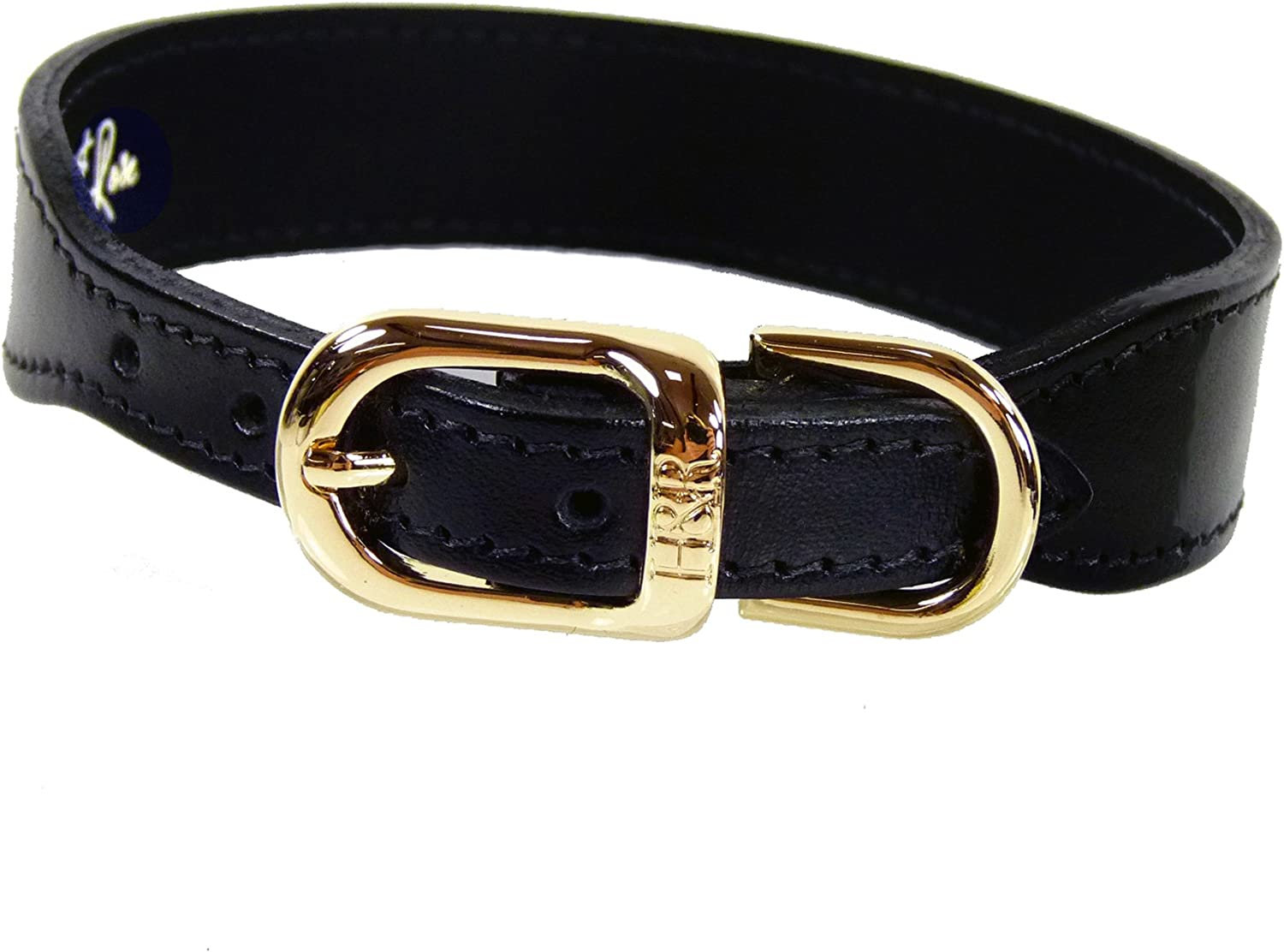 Hartman & pink 1350 Plain gold Plated Dog Collar, 10 to 12Inch, Black Patent