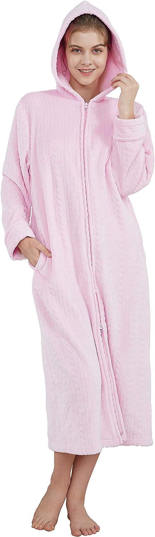 Cityoung Womens Long Warm Bathrobe Zipper Fleece Plush Housecoat