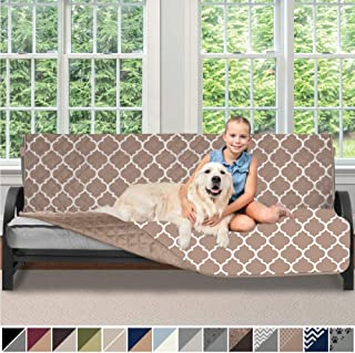 Sofa Shield Original Patent Pending Reversible Futon Protector for Seat Width up to 70 Inch, Furniture Slipcover, 2 Inch Strap, Daybed Couch Slip Cover Throw for Pets, Kids, Futon, Quatrefoil Mocha