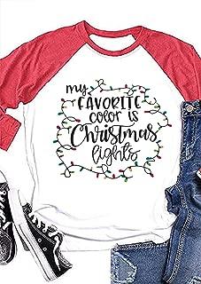 Beopjesk Womens My Favorite Color is Christmas Lights Shirts Casual Long Sleeve Raglan Tees Tops