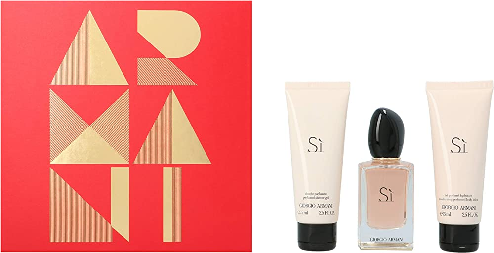 Giorgio armani SI, set - eau de parfum 50ml + gel doccia 75ml + latte corpo 75ml,per donna 3614272297685