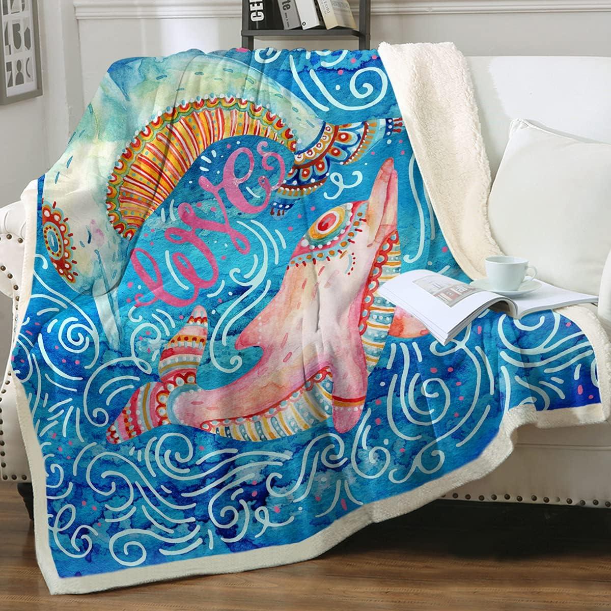 Sleepwish Dolphin Tulsa Very popular Mall Sherpa Plush Blanket Pink 90
