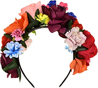 DreamLily Frida Kahlo Mexican Flower Crown Headband Party Costume Dia de Los Muertos Day of The Dead Headpiece NC12