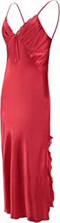EPLAZA Women Plain Satin Chemise Long Slip Night Dress Gown Sleepwear Loungewear