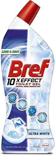Bref 10xEffect Ultra White Lime and Mint, Hospital grade disinfectant, Toilet Cleaner Gel, 450ml