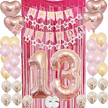 Amazon Com 13th Birthday Party Supplies For Girls 13th Birthday Decoration Kit Party Favors Rose Gold Pink Happy Birthday Banner Confetti Balloons Rose Red Foil Curtain As Party Supplies S Gift Health Personal Care