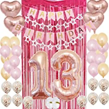 13th Birthday Party Supplies for Girls|13th Birthday Decoration Kit Rose Gold-Pink Happy Birthday Banner| Confetti Balloons| Rose Red Foil Curtain as Backdrop Props Photos for Thirteen Teenager Bday
