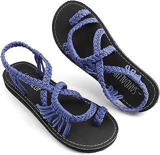 042ed639264b SANDALUP Flat Sandals for Women Handmade Braided Summer Sandal