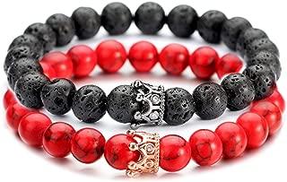 POSHFEEL Couple Black Matte Agate & White Howlite CZ Crown Queen 8mm Beads Bracelet, 7.5