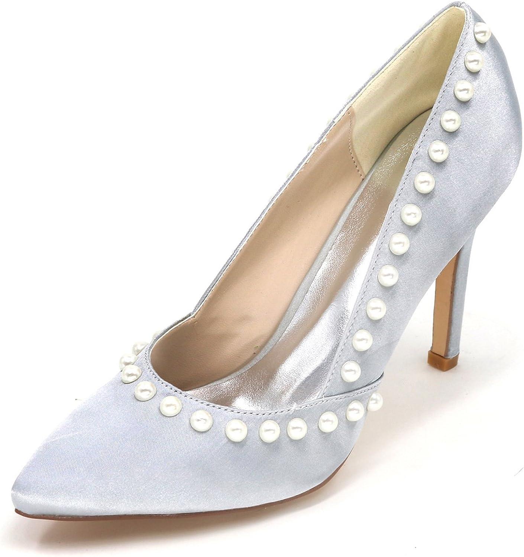 Elobaby Frauen Hochzeitsschuhe Spitz Stiletto High Heels Heels Court Schuhe Perle Prom Party   9.5cm Ferse  Luxusmarke