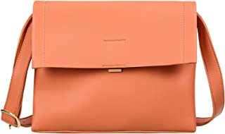 MINISO Women Retro Simple Shoulder Bag Crossbody Bag Soft PU Leather Handbag Hobo Ladies Girl