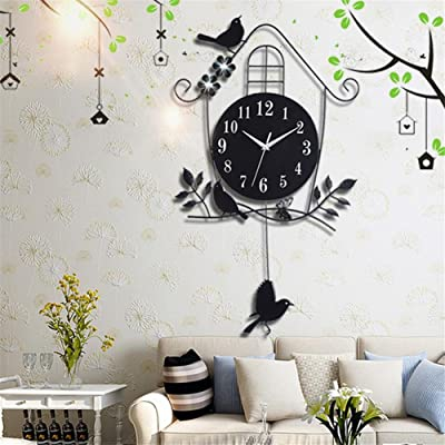 Modern Simple Wall Clock, Non Ticking Digital Quiet Sweep Decorative Clocks, Creative Birds rocking