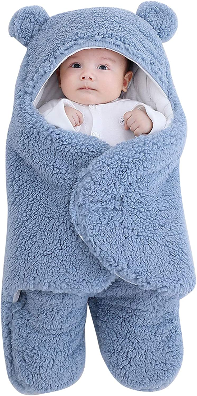 Baby Swaddle Blanket, Cotton Fleece Receiving Swaddling Wrap Winter Newborn Infant Soft Warm Hooded Wrap Sleeping Bag