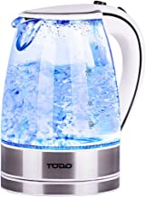 Todo 1.7L Glass Cordless Kettle 2200W Blue Led Light Electric Water Jug White