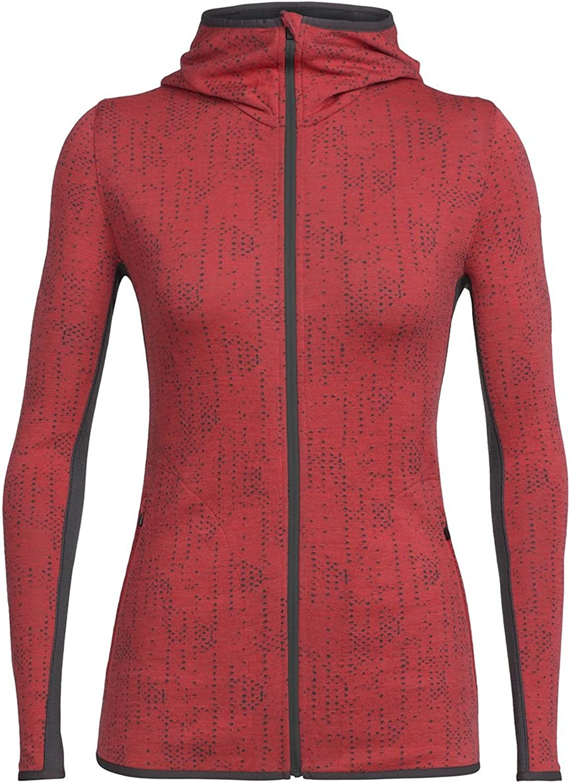 Icebreaker Merino Women's Away Long Sleeve Zip Hood Showers, Poppy Red Monsoon, L