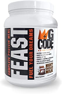 GCode Feast Complete Protein Meal (Mighty Chocolate Milk) Whey Isolate, Egg Whites, Oats, Organic Greens, MCT Oil, Probiotics, Digestive Enzymes