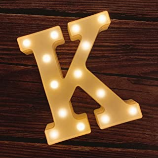 MUMUXI LED Marquee Letter Lights 26 Alphabet Light Up Marquee Number Letters Sign for Wedding Birthday Party Battery Powered Christmas Lamp Night Light Home Bar Decoration (K)