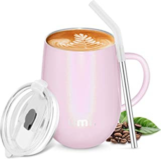 Amazon Brand - Umi Coffee Cup with Handle, 360ml Stainless Steel Travel Mug for Hot Cold Drinks, Double Wall Vacuum Insula...