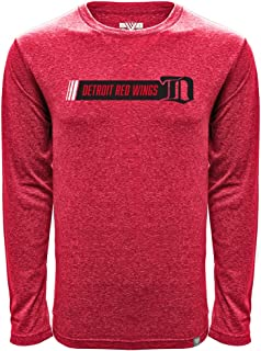 NHL Detroit Red Wings Men's Mirage Vintage Hybrid Stripe Long Sleeve Tee, Heather Flame Red, X-Large