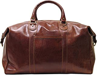Chianti Italian Calfskin Leather Duffle Bag, Vecchio Brown, One Size