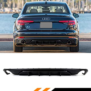 Fits for 2017-2018 Audi A4 B9 Matt Black Shark Fin Rear Lower Bumper Diffuser Valance
