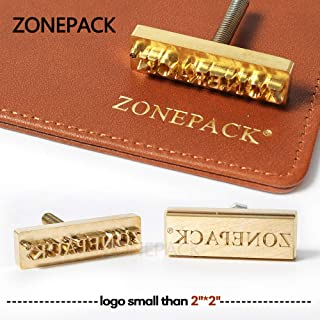 ZONEPACK Custom Logo Hot Foil Stamping Brass Mold Branding Iron Wood Burning Stamp Heating for Leather Wood Paper (Small Than 2``x2`` with 0.19`` Hole on Back)