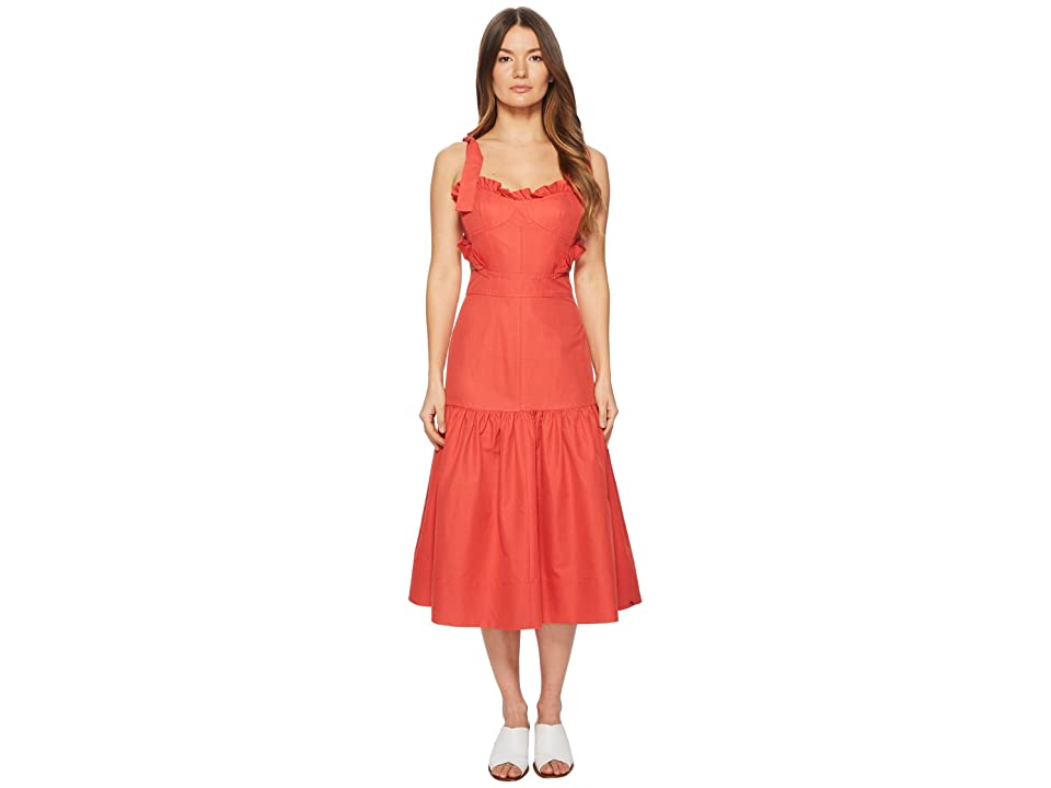Rebecca Taylor Sleeveless Cotton Midi Dress (Cerise) Women