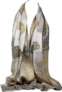 Bullahshah Aus Weißen dünnen weichen Metallfaden Blumendruck in Gold Kupfer Schals Wrap Schal Stola Kopftuch