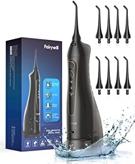 Water Flossers for Teeth, Fairywill 300ML Cordless Portable Water Pick Teeth Cleaner, 3 Modes and 8 Jet Tips, IPX7 Waterpr...