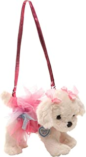 Poochie Poochie and Co. Girls Plush Handbag - Maltipoo with Pink Disco Dots and Glitter Rainbow Tutu