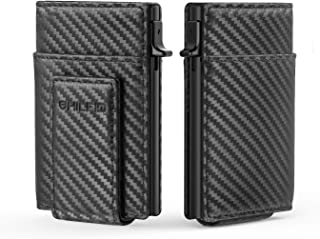 SHILFID Anti RFID Blocking Credit Card Holder Protector, Genuine Leather Pop-up Wallet, Metal Wallet ID Card Hard Aluminum...