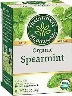 Traditional Medicinals Organic Spearmint Tea, 16 Tea Bags (Pack of 6)