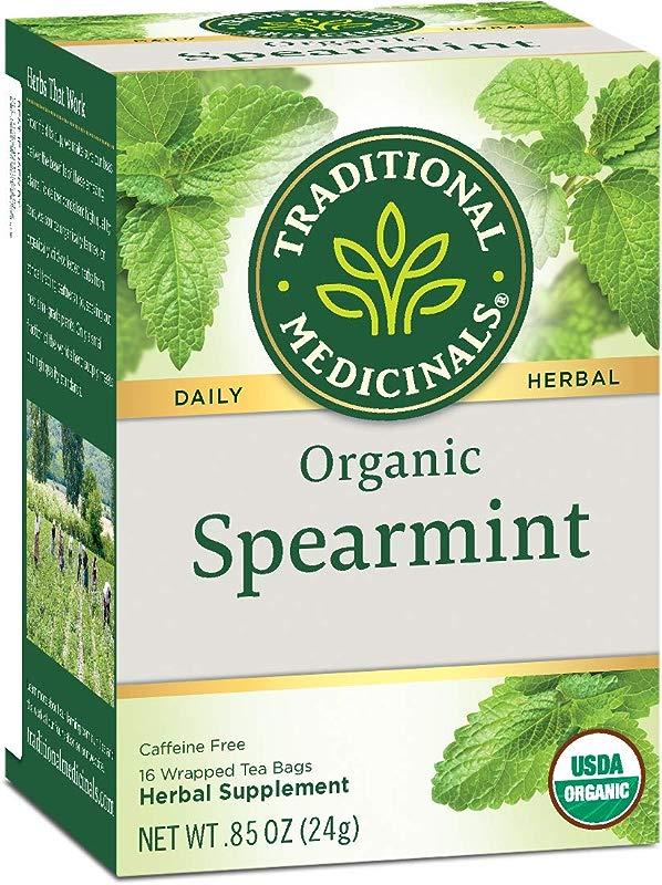 Traditional Medicinals Organic Spearmint Herbal Tea 16 Tea Bags Pack Of 6