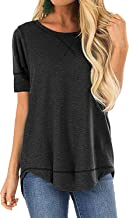 OURS Women's Casual Long Sleeve T-Shirts Cotton Tee Tops Loose V-Notch Short Sleeve Tunic Tops